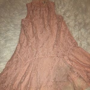 Entro woven pink lace dress size small sleeveless